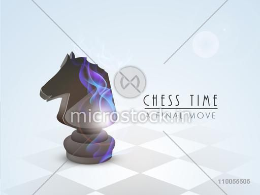 Stylish chess knight with flame on skyblue background.