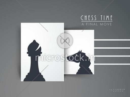 Chess figures bishop and knight for chess time on grey background.