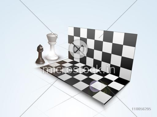 Folding chess board with shiny figures of bishop and queen on stylish background.