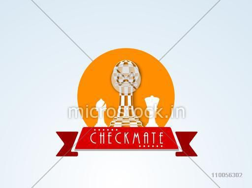 Checkmate sticker, tag or label with chess figures and ribbon on stylish background.