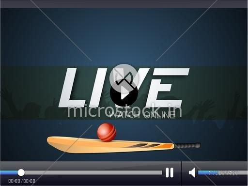 Live cricket telecast video player window for web.