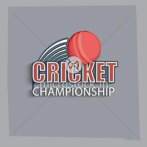Cricket Championship text with red ball on grey background.