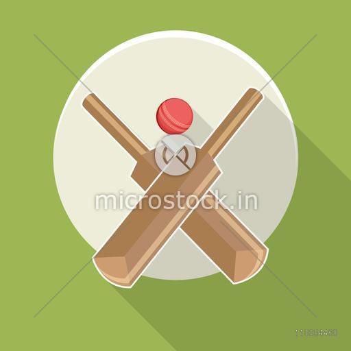 Sticker or label with cricket bats and ball on green background.