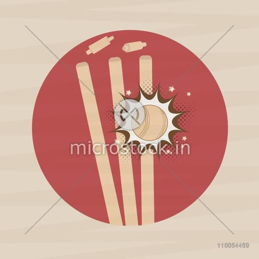Illustration of a ball hitting the wicket stumps for Cricket Sports concept, Can be used as sticker, tag or label design also.