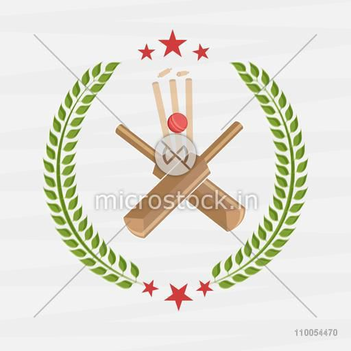 Cricket sports concept with red ball, bat, wicket stump and laurel wreath on white background.