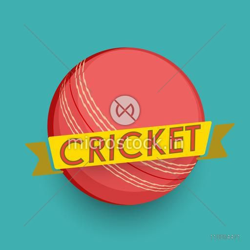 Stylish Text Cricket on yellow Ribbon with shiny Ball, Can be used as Poster, Banner or Flyer design for Sports concept.