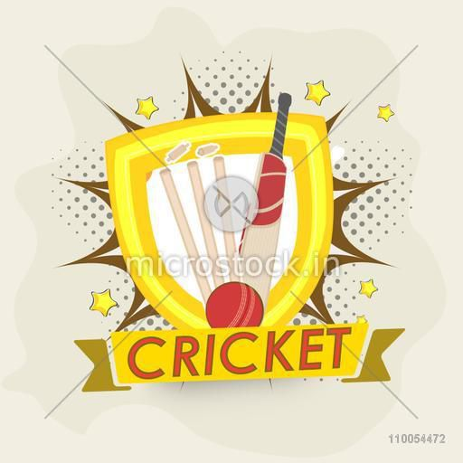 Creative Winning Shield with bat, ball and wicket stumps on pop art explosion for Cricket Sports concept.