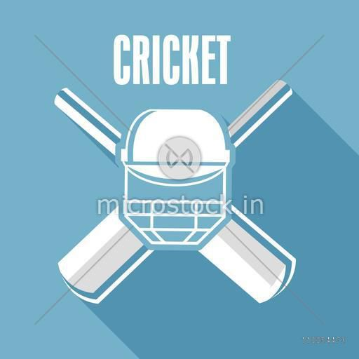 Cricket bat with batsman helmet and Cricket text on blue background.