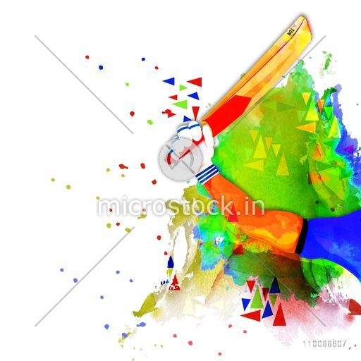 Abstract Sports background with illustration of Cricket Batsman holding bat.