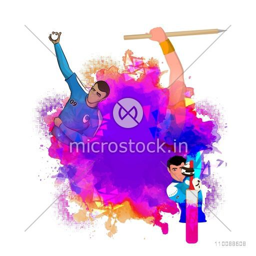 Abstract Sports background with illustration of Cricket Players in different playing actions.