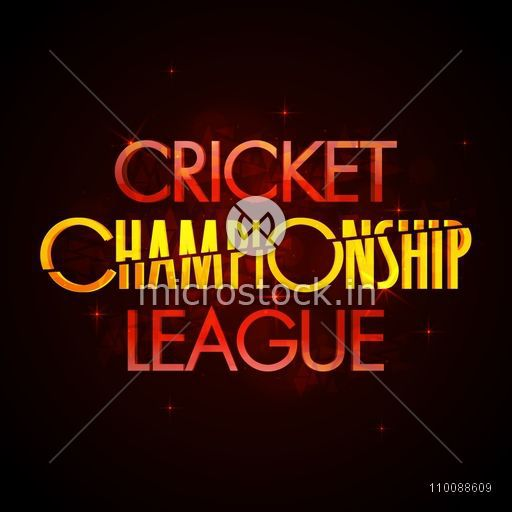 3D glossy glowing Text Design of Cricket Championship League.