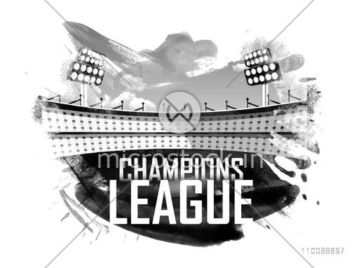 Black and white illustration of Stadium with abstract brush strokes for Cricket Champions League.