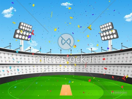 View of a Stadium with confetti in daylight for Cricket Sports Concept.