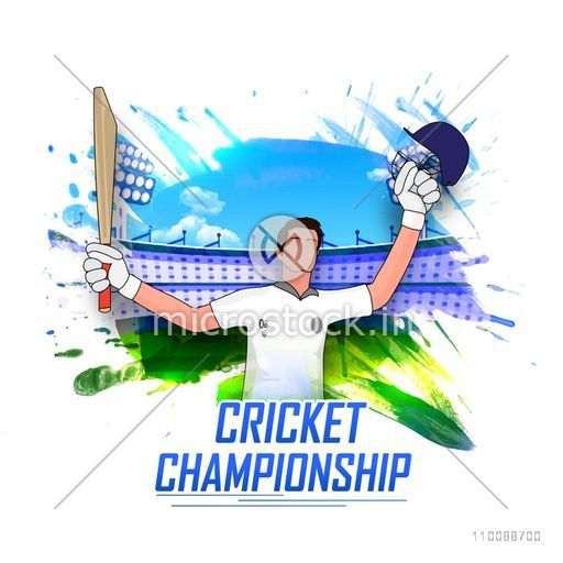 Illustration of a Cricketer in winning pose on abstract Stadium background for Cricket Championship concept.