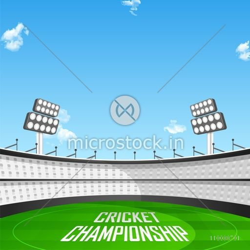 Creative view of a Stadium in daylight with Text Cricket Championship on playground.