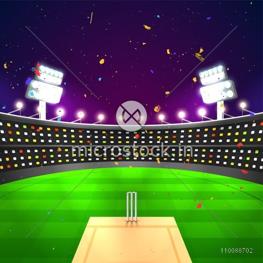 Glowing Night Stadium background with confetti for Cricket Sports Concept.