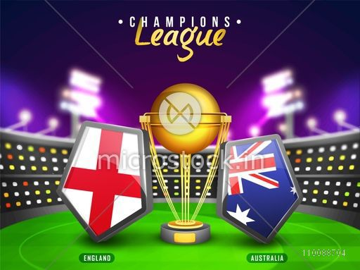 England Vs Australia Cricket Match Concept with their Countries Flag Shields and Golden Trophy shining in stadium lights.