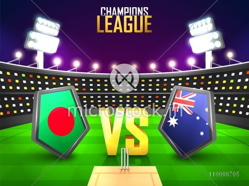 Bangladesh Vs Australia Cricket Match Concept with their Countries Flag Shields shining in stadium lights.