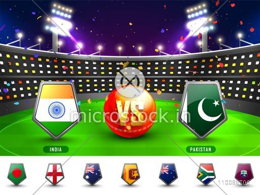 Cricket Match Participating Countries Flag Shields with India Vs Pakistan highlighted on night stadium background.