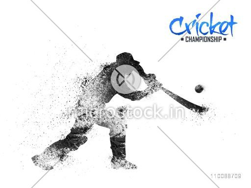 Creative abstract illustration of Cricket Batsman ready to hit the ball.