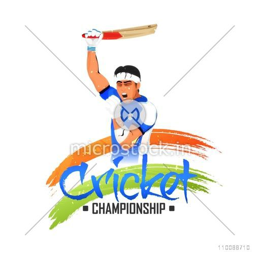 Illustration of an aggressive Cricketer expressing his emotions for Cricket Championship Concept.