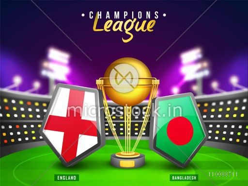 England Vs Bangladesh Cricket Match Concept with their Countries Flag Shields and Golden Trophy shining in stadium lights.