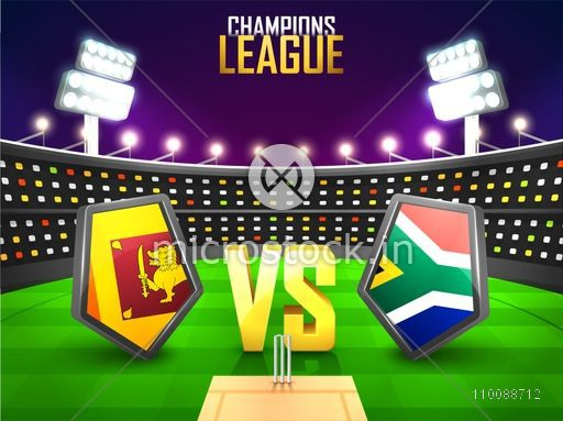 Sri Lanka Vs South Africa Cricket Match Concept with their Countries Flag Shields shining in stadium lights.