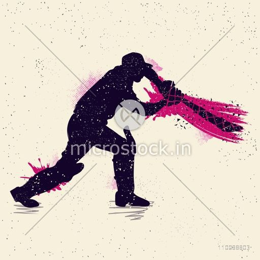 Sports concept with silhouette of Cricket Batsman ready to hit the shot.