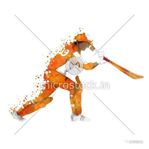 Abstract illustration of Cricket Batsman ready to hit the shot.