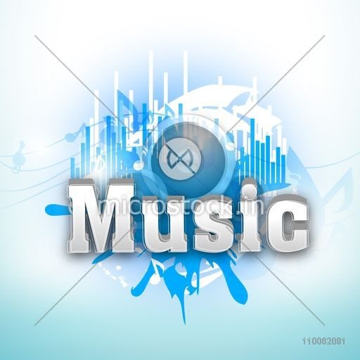 3d text music on abstract blue background can be used as poster banner or