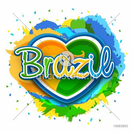 Brazilian Flag Colors Text Brazil On Creative Heart Decorated Abstract Colorful Background Can Be Used As Poster Banner Or Flyer Design