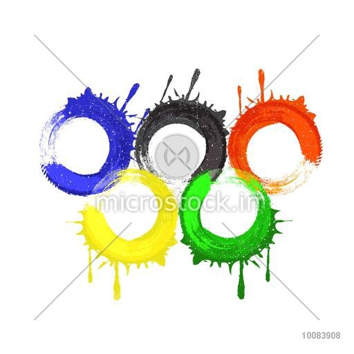 Creative Five Colorful Rings Symbol Of Unity On White Background