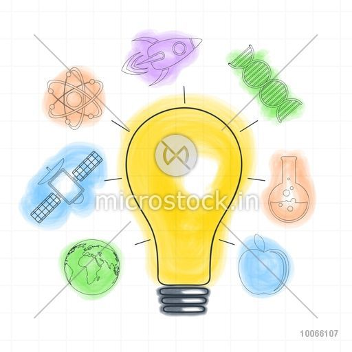 Illustration of a light bulb with other elements on graph paper background for Science concept.