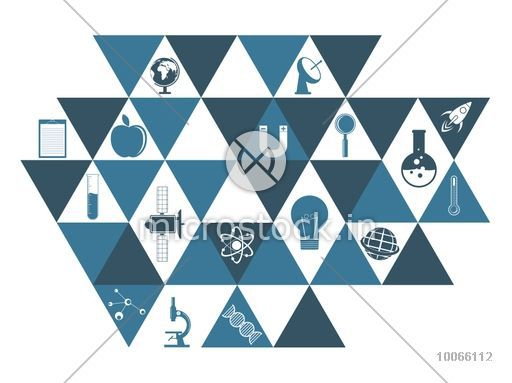 Creative set of Science signs and symbols on shiny background.