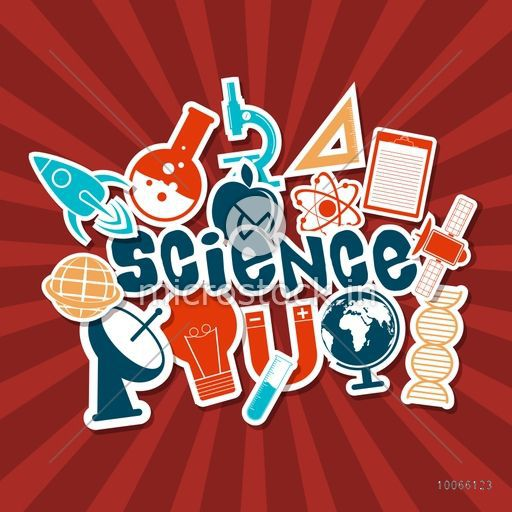 Colorful Science symbols on red rays background, can be used as sticker, tag or label.