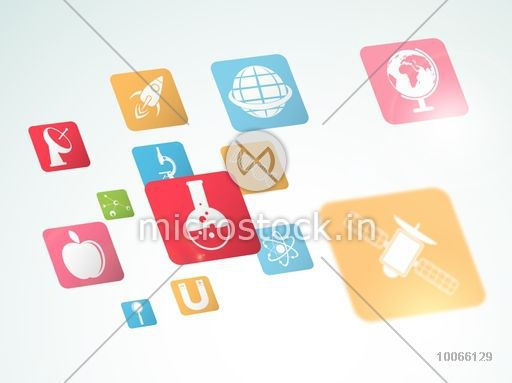 Set of colorful glossy signs and symbols of science on shiny background.