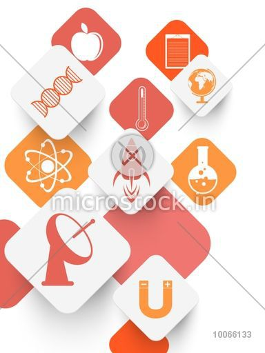 Set of stylish sticker, tag or label design with illustration of Science symbol on shiny background.