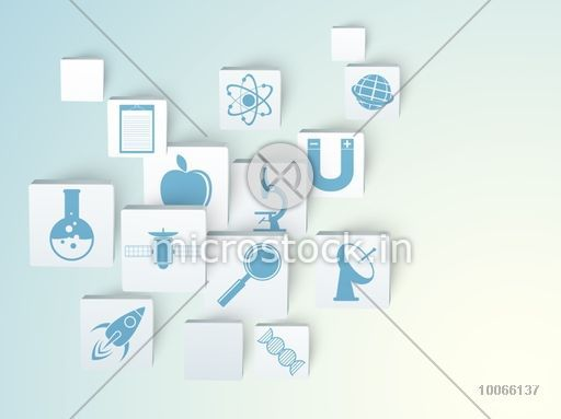 Set of glossy Science signs and symbols on shiny blue background.
