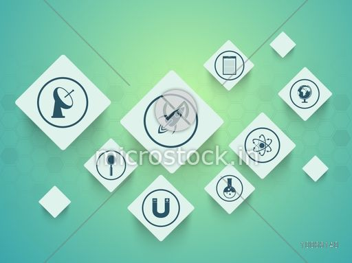 Science sign and symbols on shiny green background, can be used as sticker, tag or label design.