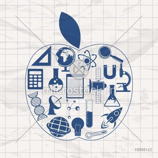 Set of various Science signs and symbols in an apple shape on grungy background.