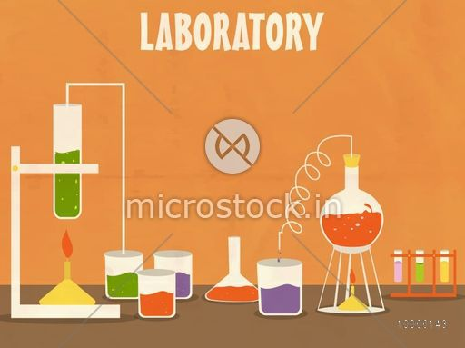 Illustration of a Science laboratory with various beaker and flask for experiment on grungy orange background.