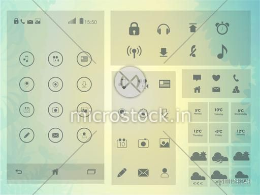 Set of different application icons like web icons, social media icons, musical icon for mobile user interface on shiny background.