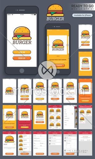 Material Design, UI, UX and GUI Screens for Food Mobile Apps including Login, Sign up, Find Stores, Search, My Cart, Delivery Address, Payment and Order Confirmation option.