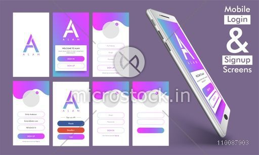 mobile login and sign up screens, material design, ui, ux and gui, Presentation templates