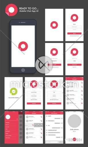 Material Design UI, UX and GUI Screens with Chat, Login, Create Account and Contact List feature for Online Communication and Dating Mobile App, responsive website.
