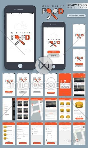 Mid Night Food, Material Design, UI, UX and GUI Screens for Mobile Apps including Login, Sign up, Find Restaurants, My Cart, Delivery Details, Payment and Order Confirmation option.