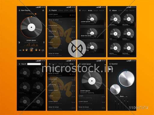 Material Design UI, UX Screens, flat web icons for musical mobile apps, responsive websites with Welcome Screens, Music-track Screens, Setting Screens.