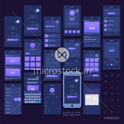 Mobile Apps Material Design, UI, UX, GUI and Web Symbols with Sign In, Sign Up, Calendar, Search, Notification, Profile, Connection and Rating Screens.