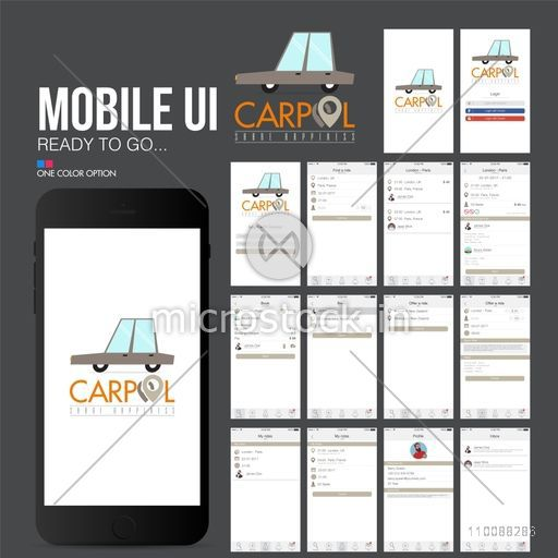 Material Design, UI, UX, GUI for mobile apps, responsive websites with Sign In, Find, Booking, Profile and Inbox Screens presentation.