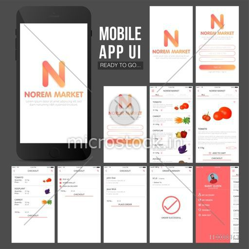 Online Shopping Mobile Apps UI, UX, GUI design with Sign Up, Sign In,  Product Details, Checkout and Order Summary Screens presentation
